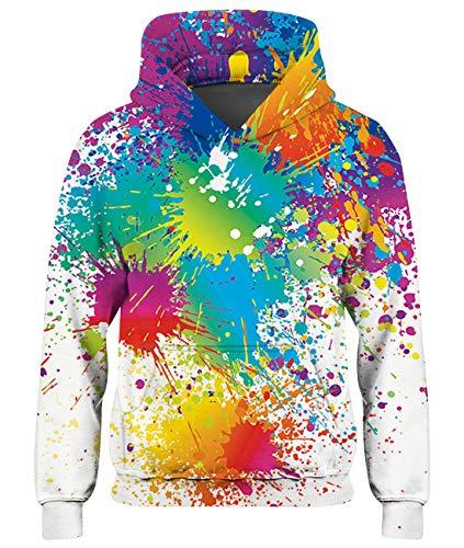 Freshhoodies Kinder 3D Graffiti Hoodie Unisex Mädchen Hoodies Coole Teenager Pullover Herbst Winter Jungs Sweatjacke Weiß Grafik Sweatshirt 11-14 Jahre