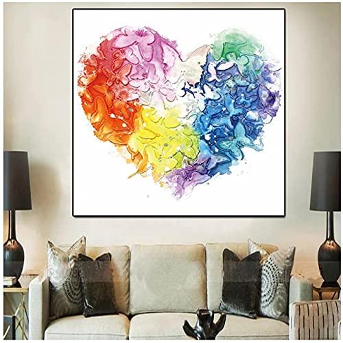 WSTDSM Impresión en HD Acuarela Corazón Flor de Mariposa Pintura al óleo sobre Lienzo Graffiti Imagen Moderna Arte Pop para Sala de Estar Sofá -24x24 Pulgadas x1 Sin Marco