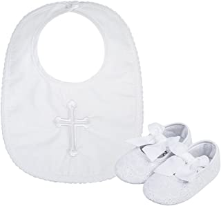 ad3ae601002c Baby Girls Premium Soft Sole Lace Bowknot Crib Shoes with Infant Embroidered  Cross Chirstening Baptism Bib