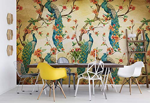 Muster Pfauen Blumen Vintage - Wallsticker Warehouse - Fototapete - Tapete - Fotomural - Mural Wandbild - (3584WM) - XXXL - 416cm x 254cm - VLIES (EasyInstall) - 4 Pieces