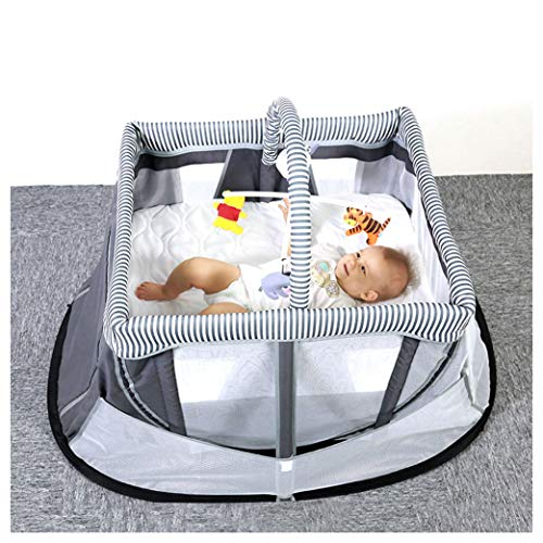 NaDrn Baby Travel Crib, Foldable Travel Cot, Folding Rocking Bassinet Bed, 3 y Bedside Sleeper for Newborn/Infant Playpen Center, Installation-Free, Side Zipper Design, Gray