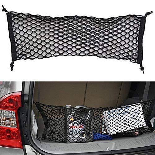 "Adjustable Elastic Heavy Duty Cargo Net, Nylon Car Trunk Rear Cargo Organizer, Hook Up Elastic Envelope Luggage Net Truck Bed Storage (36""x 11.8"") Universal Fit for Car, SUV, Truck - Black"