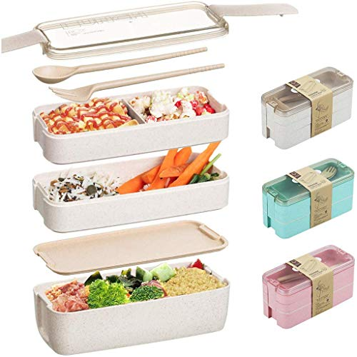Boîte à Repas Lunch Box Design Sac Isotherme | Bento Japonais Lave-Vaisselle | Portable Boîte Repas pour la Famille | Bento Qualité Compartiments Hermétiques Bluestercool