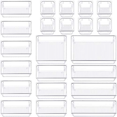 22 PCS Drawer Organizer Plastic Makeup Drawer Organizer 5 Size Customize Layout Organizer Container product image