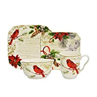 222 Fifth Holiday Wishes Red 16-Piece Dinnerware Set with Square Plates, Bowls, and Mugs, Red and Green