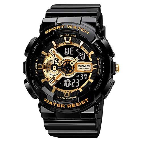 Relojes electrónicos, relojes estudiantiles, hombres multifuncionales, deportes al aire libre, luminoso, resistente al agua, para mujeres y hombres, color negro