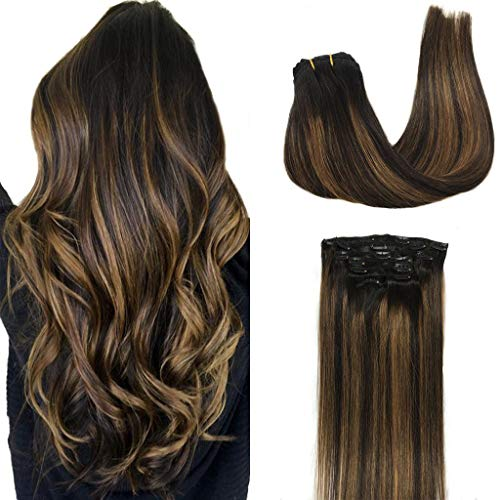 GOO GOO Clip in Hair Extensions Ombre Natural Black to Chestnut Brown Balayage Human Hair Extensions Clip in Remy Hair Extensions Real Human Hair 7pcs 120g 16 inch