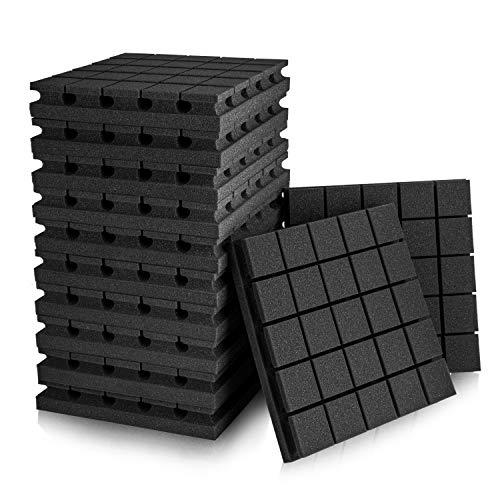"12 Pack Set 2"" X 12"" X 12"" Acoustic Foam Panels, Studio Wedge Tiles, Sound Panels wedges Soundproof Sound Insulation Absorbing, 25 Blocks Square Design"