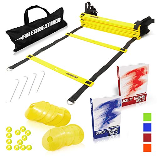 Agility Ladder and Cones by FireBreather. Great Training Equipment to Exercise Speed in Soccer