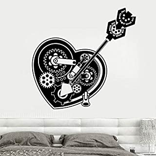 hllhpc Steampunk Mecánico Corazón Engranajes Coche Cerradura Pegatinas de Pared de Vinilo Decoración para el Hogar