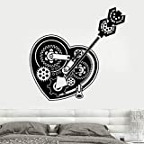 Engranajes de corazón mecánicos, pegatinas de bloqueo de coche, pegatinas de pared, decoración del hogar, sala de adolescentes, calcomanías para sala de estar, Mural extraíble A7 59x57cm