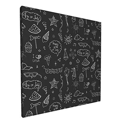 Impresiones para paredes Carteles 30X30CM Doodle Feliz 4th De Julio Iconos Set Vector Ilustración Usa Independencia Día Lienzo Arte de la Pared, Fotos para Sala y Dormitorio 12x12 pulgadas