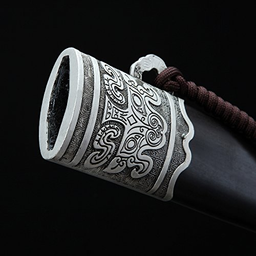 Hand Forge Premium Pattern Steel 608Chinese Sword Collectibleswith Ebony Sheath and Antique Silver Guard