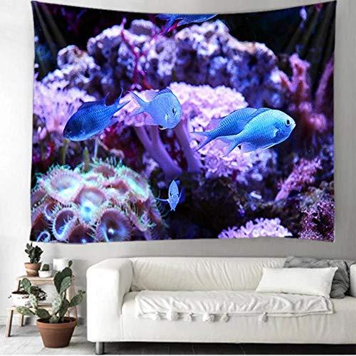 yrfchgj Tapices Pescado Azul Arrecife De Coral Tapicería Colgando Sala De Estar Dormitorio Decoración Tela De Decoración 130X150Cm
