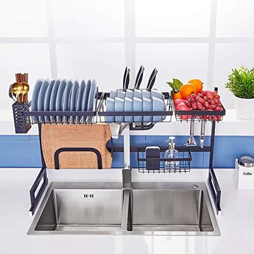 Durante el estante de secado del plato fregadero, Negro de acero inoxidable Escurridor estante de exhibición, encimera de ahorro de espacio Vajilla Organizador con utensilios titular (Tamaño: 91 * 31.