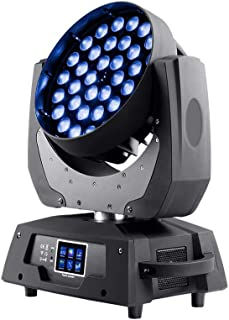 Monoprice Stage Right Stage Wash 10 Watt x 36 4-in-1 RGBW LEDs Moving Head with Zoom, DMX Control Modes/Touch Screen menu / 16 Channel. (612812)