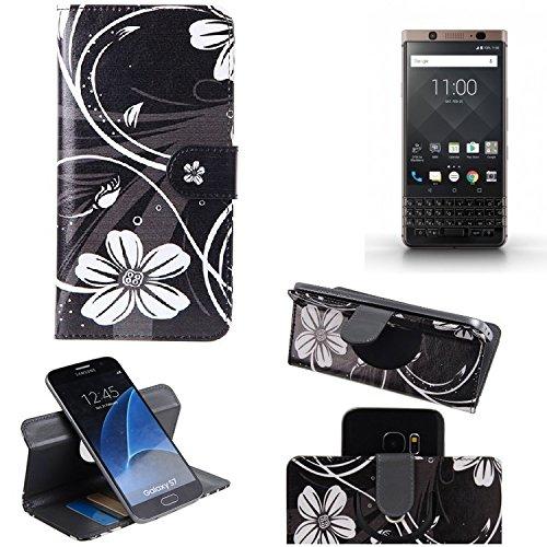 K-S-Trade® Schutzhülle Für BlackBerry KEYone Bronze Edition Hülle 360° Wallet Case Schutz Hülle ''Flowers'' Smartphone Flip Cover Flipstyle Tasche Handyhülle Schwarz-weiß 1x
