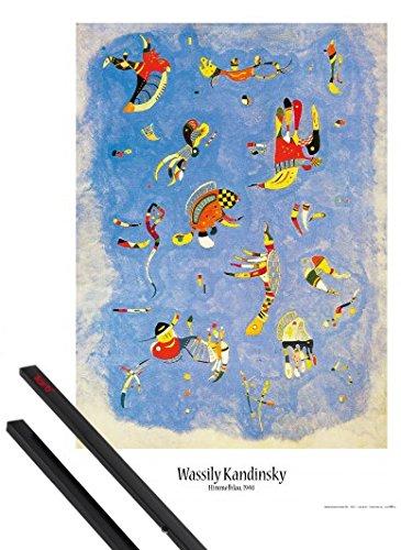 1art1 Wassily Kandinsky Poster (91x61 cm) Himmelblau, 1940 Inklusive EIN Paar Posterleisten, Schwarz