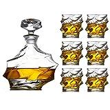 Casual Juego De 7 Piezas Whisky Whiskey Botella De Vino Copa De Vino De Cristal para Hombres con 6 Grandes Gafas De Cóctel para Ron Scotch O Borbon MUMUJIN (Color : Default)