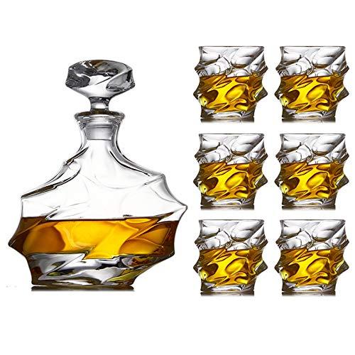 Creatividad Juego De 7 Piezas Whisky Whiskey Botella De Vino Copa De Vino De Cristal para Hombres con 6 Grandes Gafas De Cóctel para Ron Scotch O Borbon JXLBB (Color : Default)