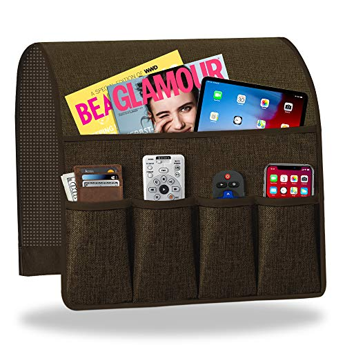 Sofa Armrest Organizer, Non-Slip Couch Caddy Armchair Arm Chair Caddy with 6 Pockets Armchair Caddy forSmart Phone, Book, Magazines, Ipad, TV Remote Control Holder (19'' x 35'', Deep Chocolate)