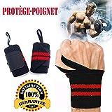 AINOLAN Protège-Poignet Sport Bracelet Bande Poignet – Bande de Support Poignet pour Haltérophilie, Musculation, Gymnastique, Bodybuilding, Crossfit (Rouge)