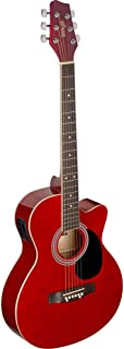 Stagg SA20ACE RED Auditorium Cutaway Electro-Acoustic Guitar - Red