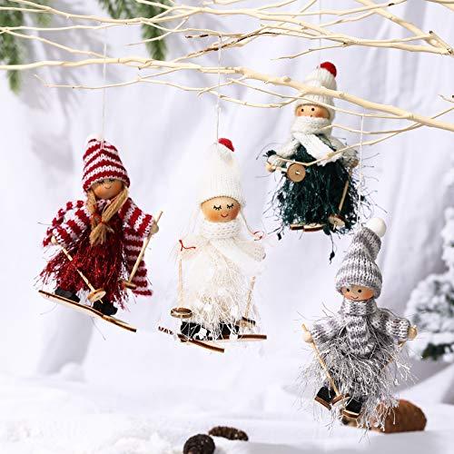 Makone Decoración navideña Original (Muñeca de esquí con Vestido con Flecos, Trineo, Bufanda y Sombrero) para árbol de Navidad y Fiesta de cumpleaños y decoración del hogar, Fiesta (4 Piezas)