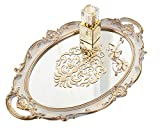 Zosenley Decorative Mirror Tray, Floral Vanity Organizer for Makeup, Jewelry, Perfume and Decor, Vintage Oval Display and Serving Tray for Dresser, Counter and Coffee Table, Golden Gray