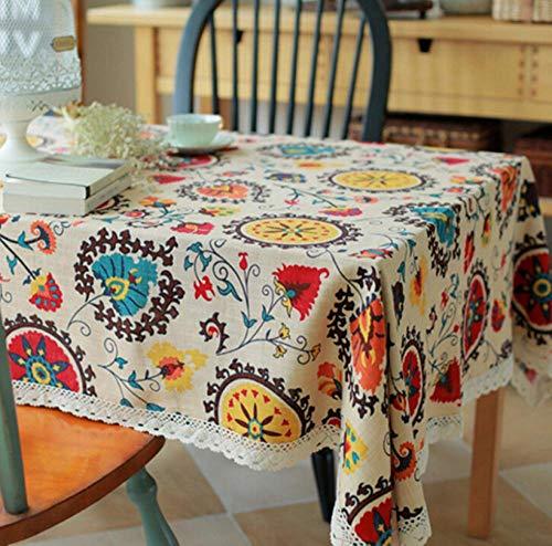 ggzgyz Jardín Manteles de Lino de algodón clásico Mantel con Estampado de Girasol Rectangular con manteles a Prueba de Polvo de Encaje para Bodas en el hogar