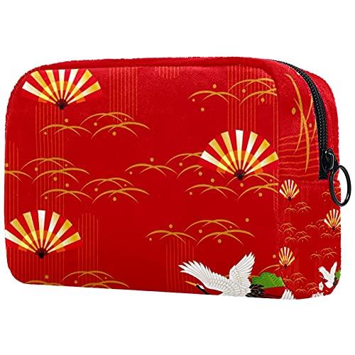 Estuche cosméticos Viaje portátil Organizador Bolsas Maquillaje Ventilador de Papel de Japón Cremallera Bolsillo Grande Almacenamiento