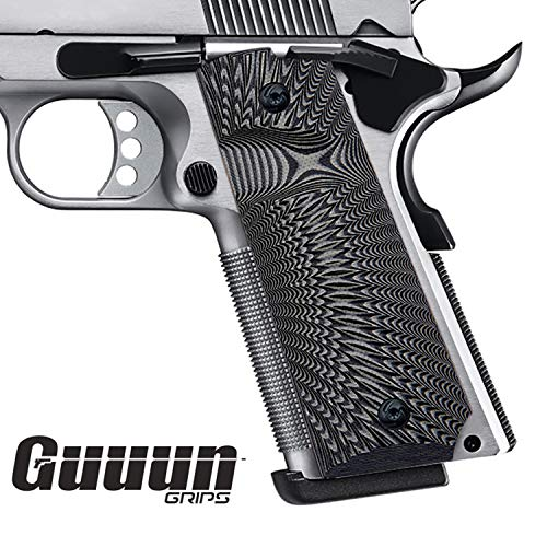Guuun 1911 Griffe für Pistole 1911 griffschalen Full Size Grips Gewehr-Hartschalenkoffer G10 Griffe Ambi Safety Cut Big Scoop Sunburst Texture