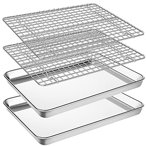 Baking Sheet with Cooling Rack Set, Footek Stainless Steel Cookie Sheet Baking Pan Tray with Wire Rack for Oven, Dishwasher Safe, Non Toxic, Heavy Duty & Easy Clean (4, 12inch)