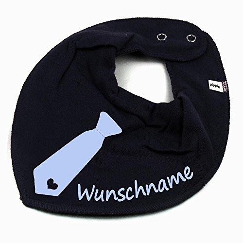 Elefantasie HALSTUCH KRAWATTE mit Namen oder Text personalisiert dunkelblau für Baby oder Kind