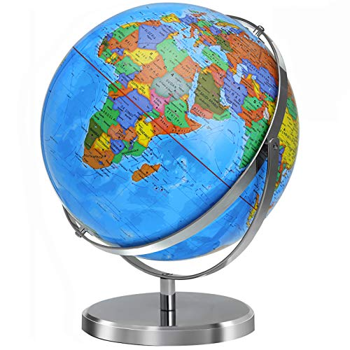 KINGSO 12 in World Globe Large Globes for Kids 720° Rotation Globe of World with Sturdy Steel Stand Over 4000 Locations Educational Toy Gift Adult Geography Globe for Students Teachers Children
