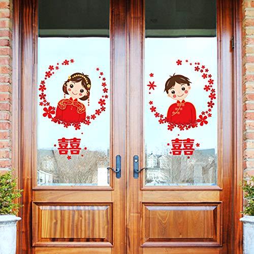DSSJ La Puerta de la Boda en la Puerta está Adornada con una Escena romántica del Dormitorio de la Sala de Bodas con una Etiqueta de Pared Grande de los Suministros de la Boda