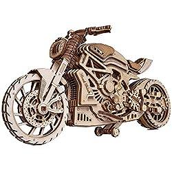 Wood Trick Holztrick Motorrad mit Gummibandmotor – Fahrt bis zu 4,6 m – mechanisches Modell - -Set für Erwachsene und Kinder – Keine Batterien – 10 x 4 – 3D Holzpuzzle Holzbausatz,203 Teile