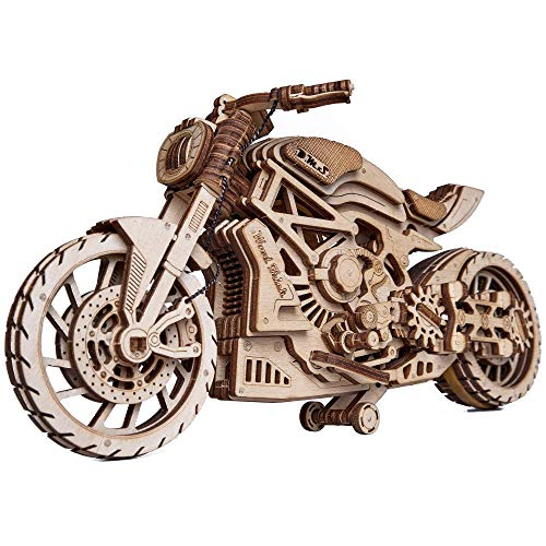 Wood Trick Motorcycle w/Rubber Band Motor - Rides up to 16ft - Mechanical Model Kit for Adults and Kids - No Batteries - 10x4″ - 3D Wooden Puzzle