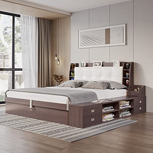 Bett Schlafzimmerbett mit Schubkästen Doppelbett Bettanlage 180 x 200 cm (Brown)