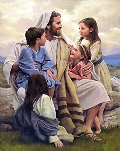 WYTCY Pintar Por Números - Jesús Y Los Niños. Pintura Al Óleo De Lienzo De Lino, Pintura De Arte Moderno, Kit De Pintura De Bricolaje, Adecuado Para Adultos Y Principiantes40*50CM