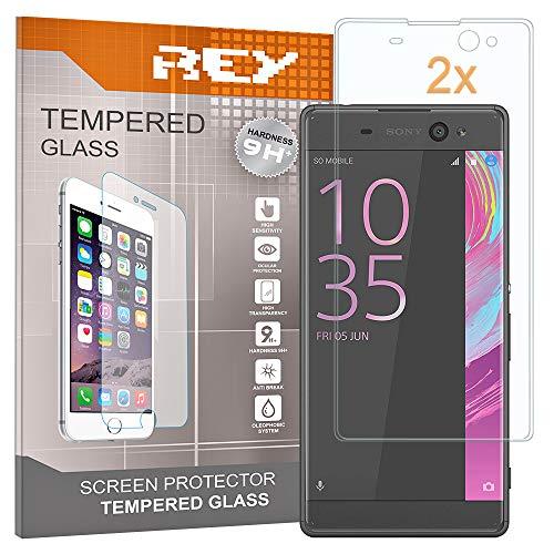 REY 2X Protector de Pantalla 3D para Sony Xperia XA Ultra, Transparente, Protección Completa, 3D / 4D / 5D