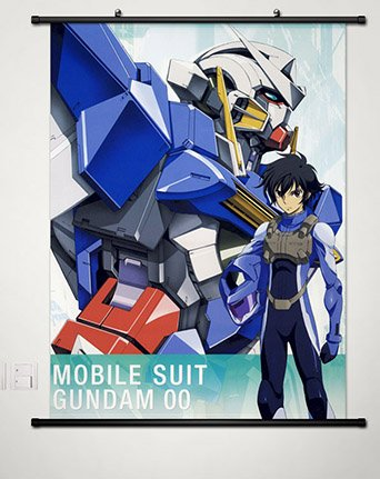 Wall Scroll Poster Fabric Painting For Anime Mobile Suit Gundam 00 Setsuna F Seiei & Gundam Exia 024 S