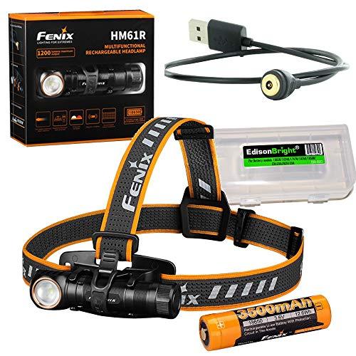 Fenix HM61R 1200 Lumen Lampe frontale LED rechargeable magnétiquement, batterie haute capacité avec étui de transport EdisonBright
