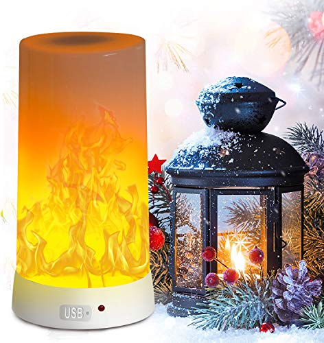 LED Flame Light, PDGROW Flame lamp USB Rechargeable 4 Modes Fire Lights Indoor Campfire Outdoor Decoration Lantern Hanging Lamps Fireplace Romantic Table Night Lighting for Home Party Camping Bar