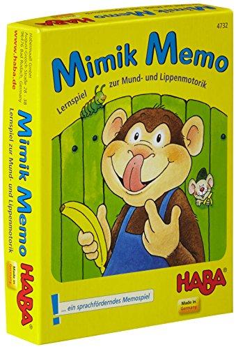 Haba 4732 - Mimik-Memo das Kartenspiel, lustiges Lernspiel für 2-6 Spieler ab 3 Jahren zur Sprachförderung im Kindergarten, Mitbringspiel mit hohem Spaßfaktor