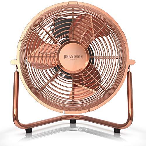 Brandson - Macchina del Vento in Stile retrò - Ventilatore da Tavolo Compatto e Molto Potente - 32W - 3 Velocitá - Scocca ed eliche in Metallo- 25 cm di Diametro - Rame