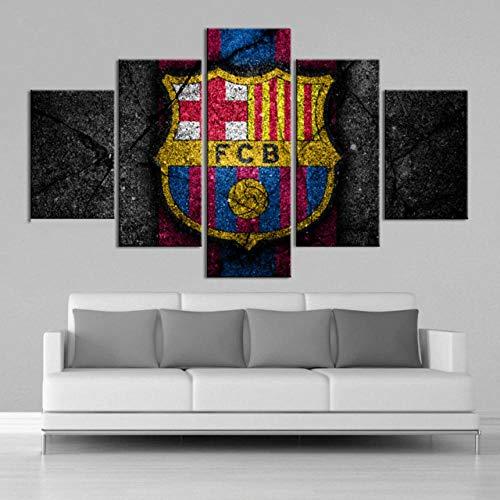 6Lv5Panel Impresiones sobre Lienzo 5Panel / Set FC Barcelona Flag Sport Painting HD Canvas Wall Art Decoración para El Hogar-100 * 55Cm-Sin Marco