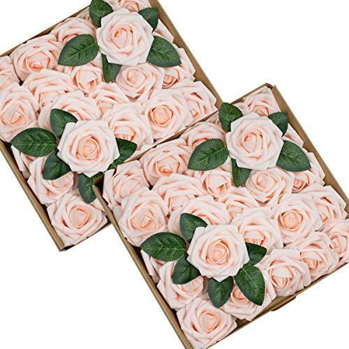 Foraineam 50pcs Artificial Roses Flower Real Looking Foam Rose Fake Flowers with Stem & Leaves for DIY Wedding Bouquets Centerpieces Party Home Decorations (Blush)