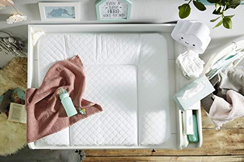 Rotho Babydesign Tapis à Langer Matelassé, Modern Square, À partir de 0 mois, 85x72x7cm, Blanc, 204430001CH