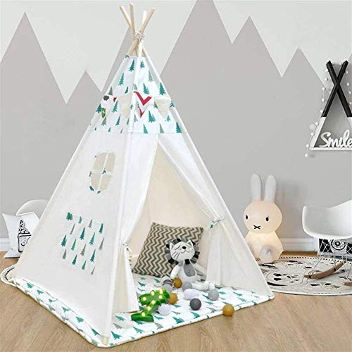 SMLZV Children Tent,Kids Playhouse Indian Cotton Canvas Tent,Kids Teepee Play Tent for Indoor Outdoor Plays,for Kids Best Gift Quieting Kids Teepee ( Color : Tree )